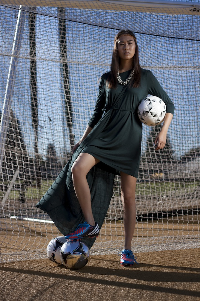 Dress: Acrimony; Headband, Necklace: Sway; Soccer Shoes, Ball: Berkeley Sports