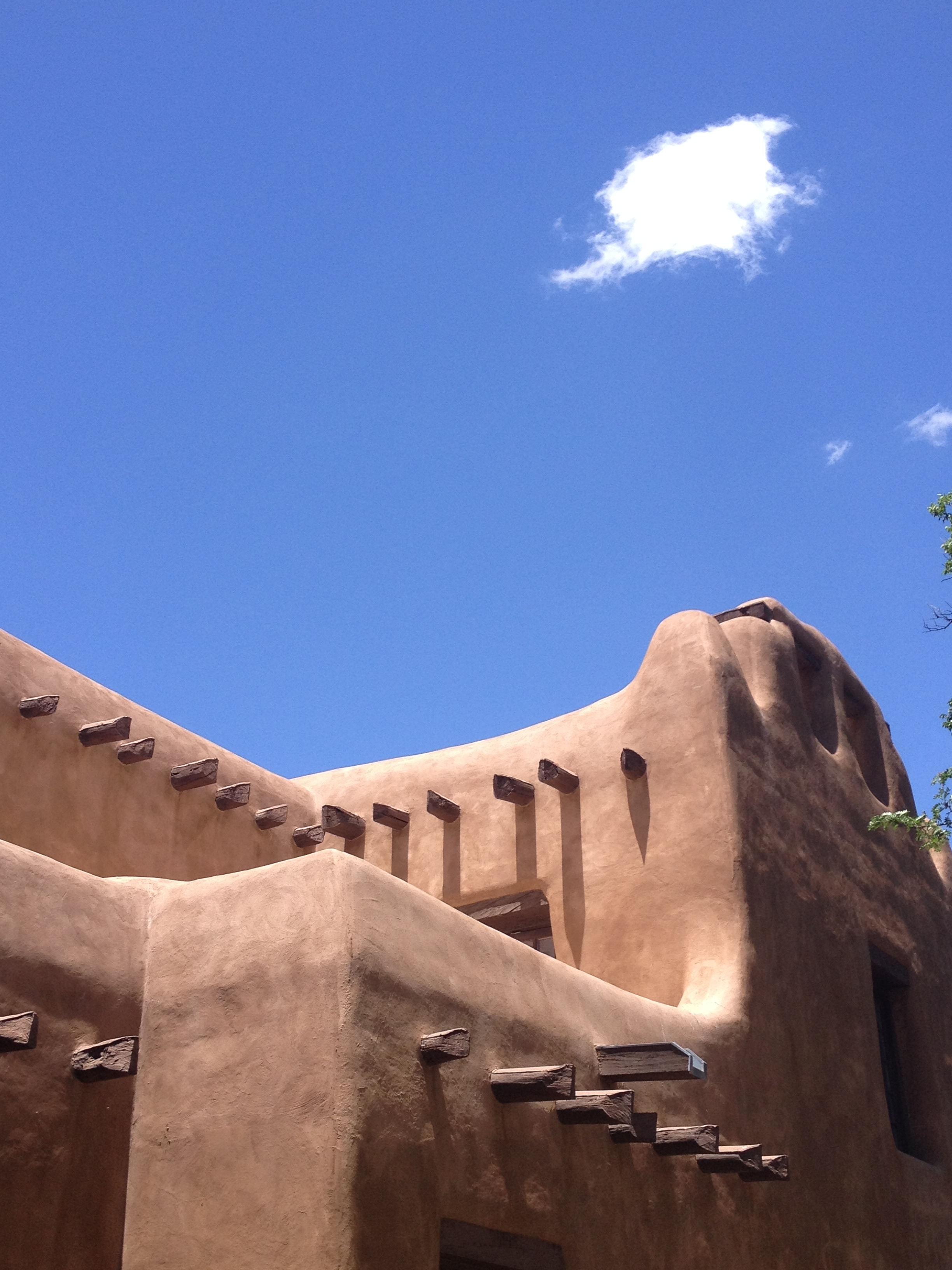 Surreal Santa Fe rounded architecture and perfect blue skies.