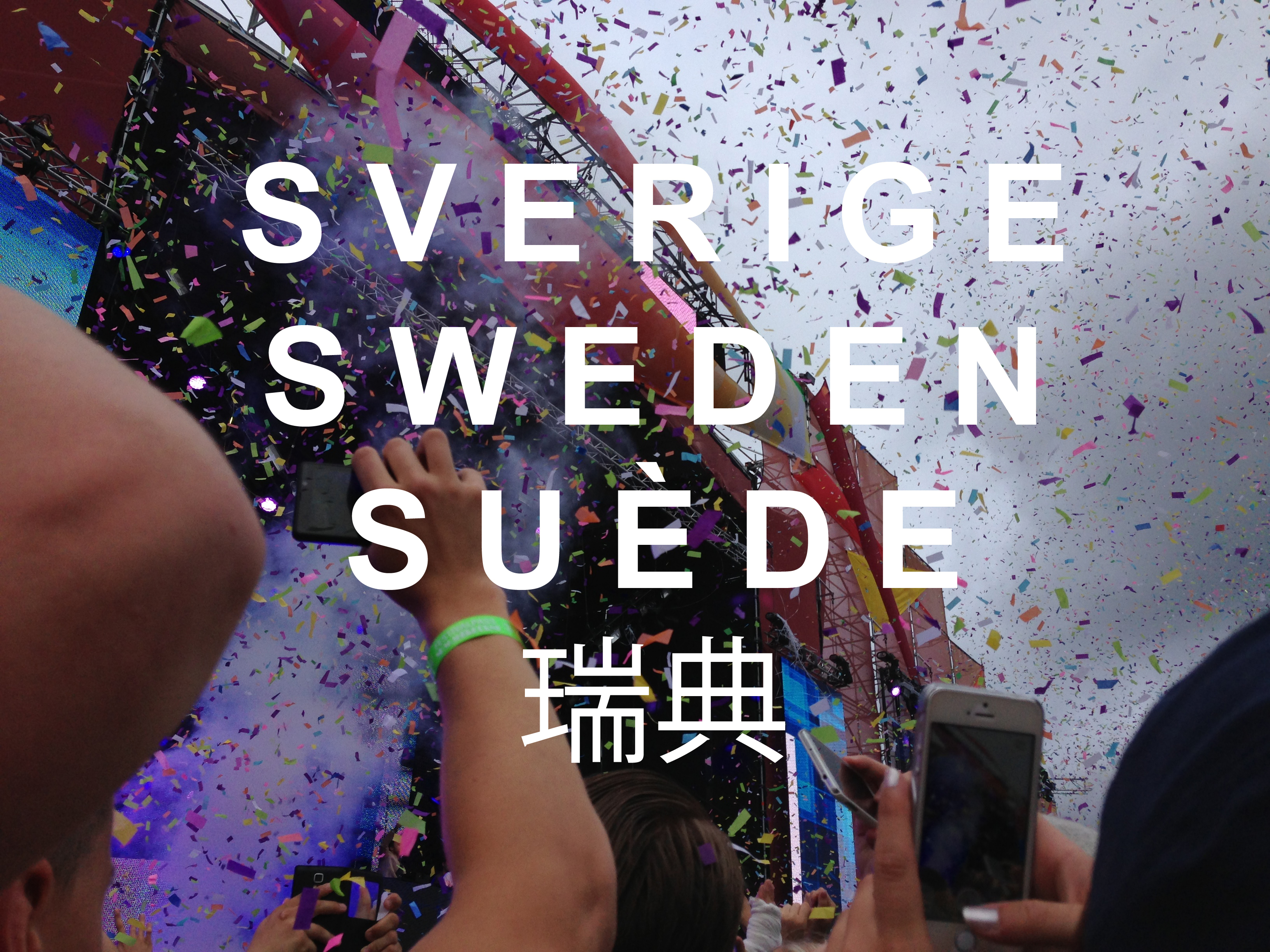 """From the top, """"Sweden"""" in Swedish, English, French, and Chinese"""